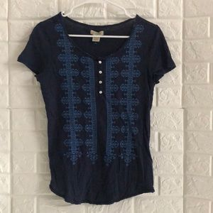 Lucky Brand navy embroidered henley tee